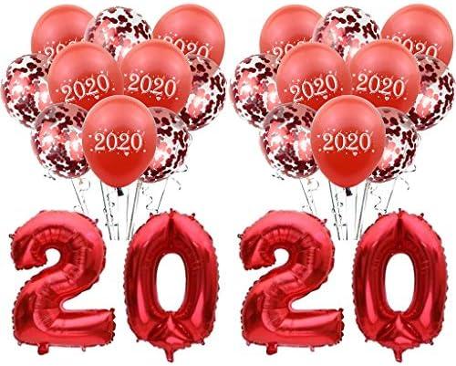 風船 数字 2020バルーン ニューイヤー Happy New Year 24点セット 新年パーティー 年越し お正月 飾り 赤 shengo