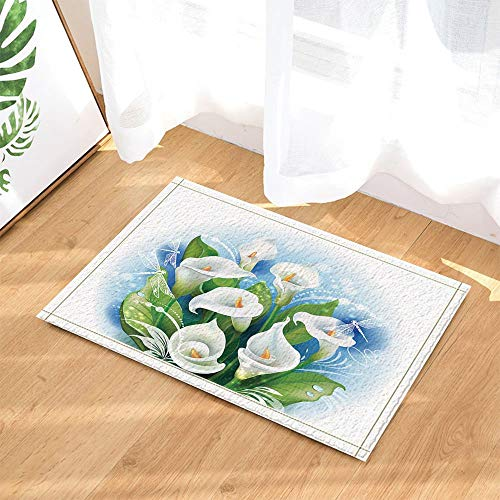 - Vector Flower Decoration,White Calla Lily Bouquet Bathroom Rug,3D Hd Printing Does Not Fade,Indoor Non-Slip Door Mat,Children's Bathroom Rug,15.7X23.6 Inches,Bathroom Accessories