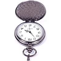 Niome Classic Smooth Black Full-Hunter White Dial Vintage Steel Man Pocket Watch