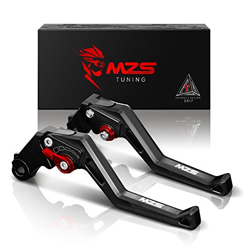 MZS Adjustment Brake Clutch Levers for Kawasaki ZX6R/ZX636R/ZX6RR 2000-2004,ZX9R 2000-2003,ZX10R 2004-2005,ZX12R 2000-2005,ZZR600 2005-2009,Z1000 2003-2006,Versys 1000 2012-2014 Black