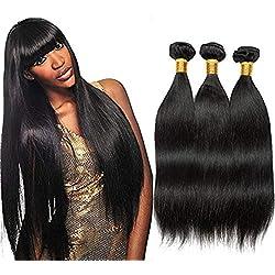 Kbeth 100% Unprocessed Brazilian Virgin Hair Straight Hair 3 Bundles Human Hair Weave Straight Remy Hair Extension(18 20 22 inch, Natural Black Color #1B)