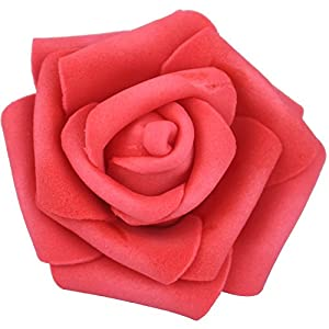 Lightingsky 7cm DIY Real Touch 3D Artificial Foam Rose Head Without Stem for Wedding Party Home Decoration (100pcs, Red) 27