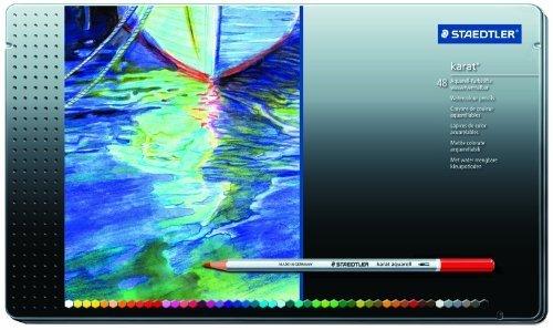 Staedtler Karat Aquarell Premium Watercolor Pencils, Set of 48 Colors, (125M48) by Staedtler by Staedtler
