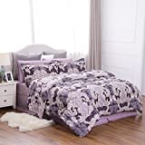 quilts king size purple - King Size BED IN A BAG Quilted Down Alternative Ocean Wave Pattern Comforter Set 8 Pieces(102