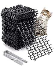 ADAKEL 12 Pack Cat Scat Mat with Spikes, Pet Deterrent Mats for Garden, Porch, Home - Outdoor Repellent Training Spike Mat Devices, Includes 4 Staples