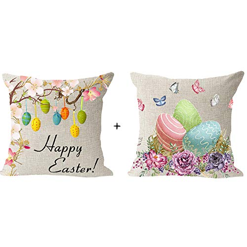 Set of 2, Happy Easter Day Pink Flower Colored Egg Flower Butterfly Blessing Gift Cotton Linen Square Throw Waist Pillow Case Decorative Cushion Cover Pillowcase Sofa 18x 18