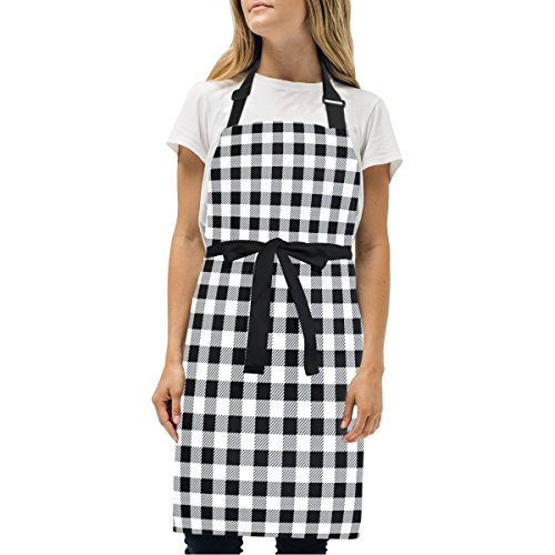 (Naanle Black and White Plaid Tartan Checkered Gingham Pattern Kitchen Chef Cooking Salon Aprons for Women Men Vintage Pinafore Apron Dress)