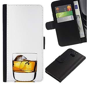 Stuss Case / Funda Carcasa PU de Cuero - Whiskey Rocks beben alcohol Oro - HTC One M8