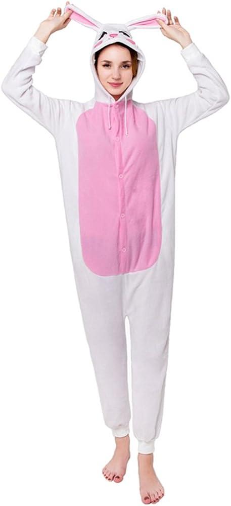 MizHome Halloween Costume Hooded Pajamas Kigurumi Cartoon Cosplay White Bunny