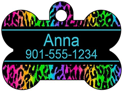 Animal Print Dog Tag Pet Id Tag Personalized w/ Name & Number Leopard Print Dog Bone (Rainbow Blue)