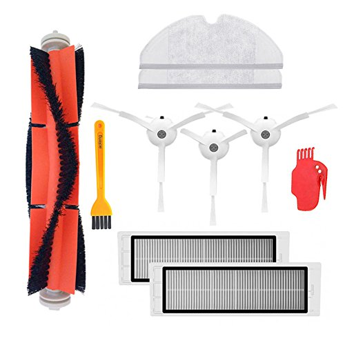 Replacement Parts for Xiaomi Mi Robot Xiaomi mijia roborock s50 s51 roborock 2 Vacuum Cleaner Pack of Main Brush,Hepa Filter,Side Brush,Cleaning Tool and Mop Cloth