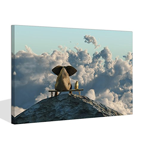Visual Art Decor Animal Canvas Poster Elephant and Dog Friends Sit on Mountain Top Scenery Framed Gallery Wrap Print Room Wall Art Decoration(Mountain Top, -