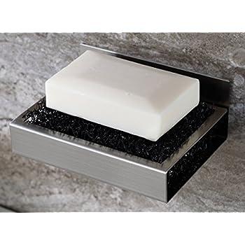 KAERSI Bathroom Stainless Steel Soap Dish Holder Self Adhesive Soap Saver  Shower Or Kitchen Accessory Sponge