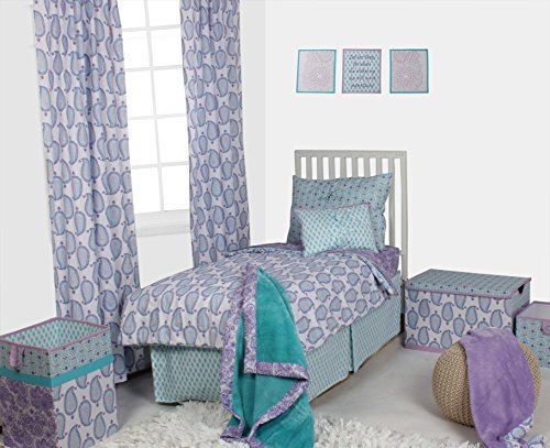 Bacati Isabella Girls Paisley 4 Piece Toddler Bedding Set, Lilac/Purple/Aqua