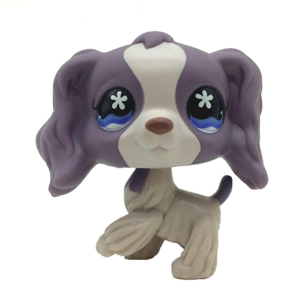 Rare Pet Shop Purple Cocker Spaniel Dog Puppy Blue Eyes LPS #1209 Toy Kids Gift 1pc crossed3_Pet toy store