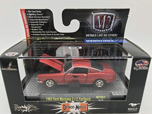M2 Machines Detroit-Muscle 1965 Ford Mustang 2+2 Fastback 50 Years Limited Edition 1:64 Scale MTS01 14-18 Red Details Like NO Other! Over 42 Parts 1 of 6000