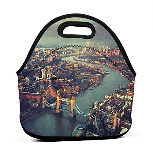 Removable Shoulder Strap London,Panoramic Picture Of Thames River And Tower Bridge Famous Cityscape, Orange Beige Almond Green,galaxy lunch bag for girls