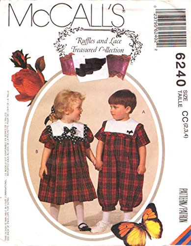 (McCall's Sewing Pattern 6240 M6240 Girls Boys Size 2-4 Romper Dress Sailor)