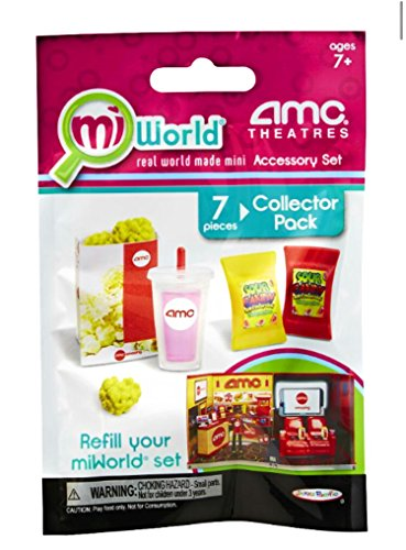 Mi World AMC Theatres Accessory Set (7 pc Collector Pack - 3 Popcorn Clusters, 1 Popcorn Bag, 1 Lemonade and 2 Candy Bags)
