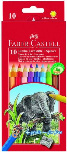 Faber-Castell 111210 Buntstifte Jumbo (inklusive Spitzer) 10er Kartonetui