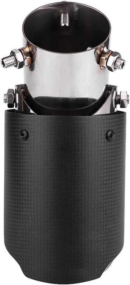 Qiilu Auspuffrohr Edelstahl Endrohr 60.5 mm auspuff auspuff endrohr einstellbar kohlefaser 1 St/ücke