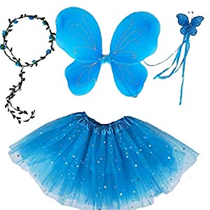 Girls Butterfly Costume Fairy Birthday Party Wings Dress Up For Halloween