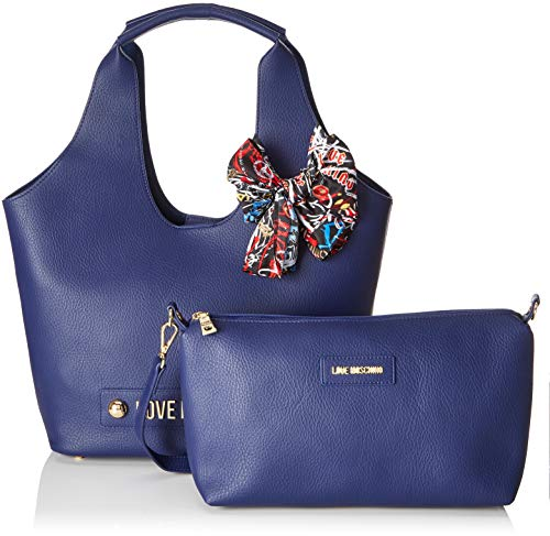 Blu Women's Blue Bonded Satchel Pu Borsa Love Moschino w6g0xUg8
