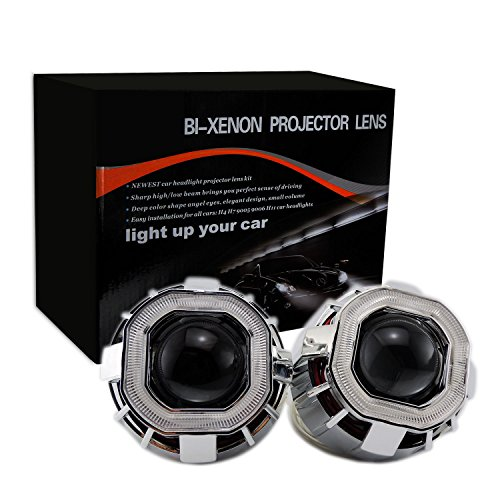 2.8 inch HID Square Projector Xenon Lens Car Auto Headlights Dual COB Angel Eyes (Inside(Big) Ring, Green)