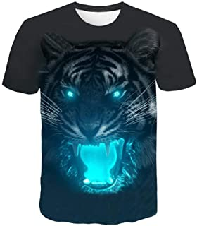 Conina Men Cotton Blouse Casual Slim Fit 3D Skull Printed Short Sleeve Button O-Neck Top T-Shirt