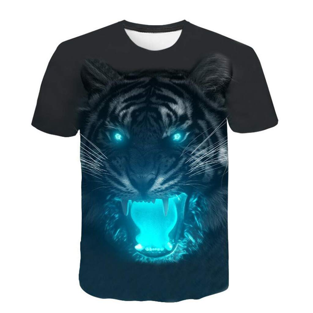 Men 3D Printing T-Shirt,Jchen Summer Mens Teen Boys 3D Tiger Print Casual Funny Tees Shirt Tops (L/US/EU Size:M, Black)