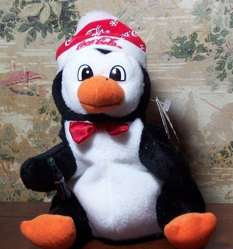 Coca-Cola Bean Bag Plush Penguin wearing Coca-Cola Snow Flake Cap