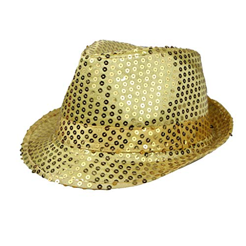 Sequin Glitter Fedora Hat Party Halloween Costume Cap (Glod)]()