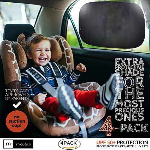 Car Window Shade XL (4-Pack) - Extra Protective UPF 50+ Protection Sun Shade for Car Window - Car Window Shades for Baby and Kids - Blocks over 99% of Harmful UV Rays - Strong Static Cling - 21