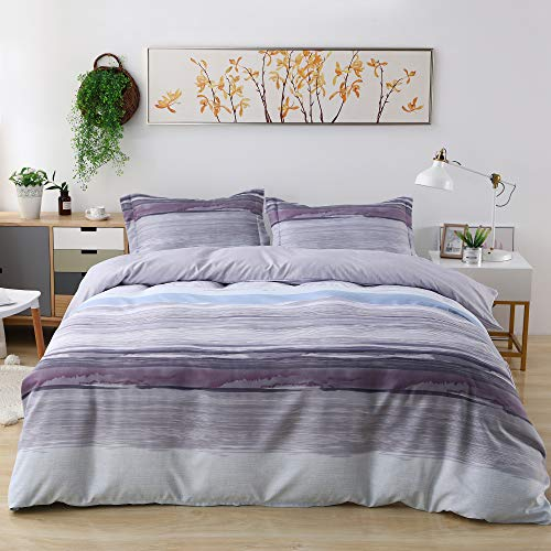 Candid Bedding Duvet Cover Set Line Printed 3 Piece Duvet Cover Reversible 2 Pillow Shams Ultra Soft with Zipper Closure (Twin, 7)