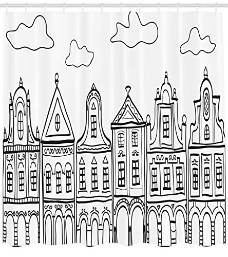 Ambesonne Amsterdam Shower Curtain, Doodle Monochrome Illustration of Old Decorated Village Houses in Holland, Cloth Fabric Bathroom Decor Set with Hooks, 70 Inches, Black and White