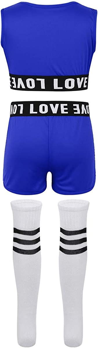 Yeahdor Kids Girls Sequins Jazz Hip Hop Dance Outfit Cheerleading Stage Costume Dancewear Crop Top with Shorts /& Sock