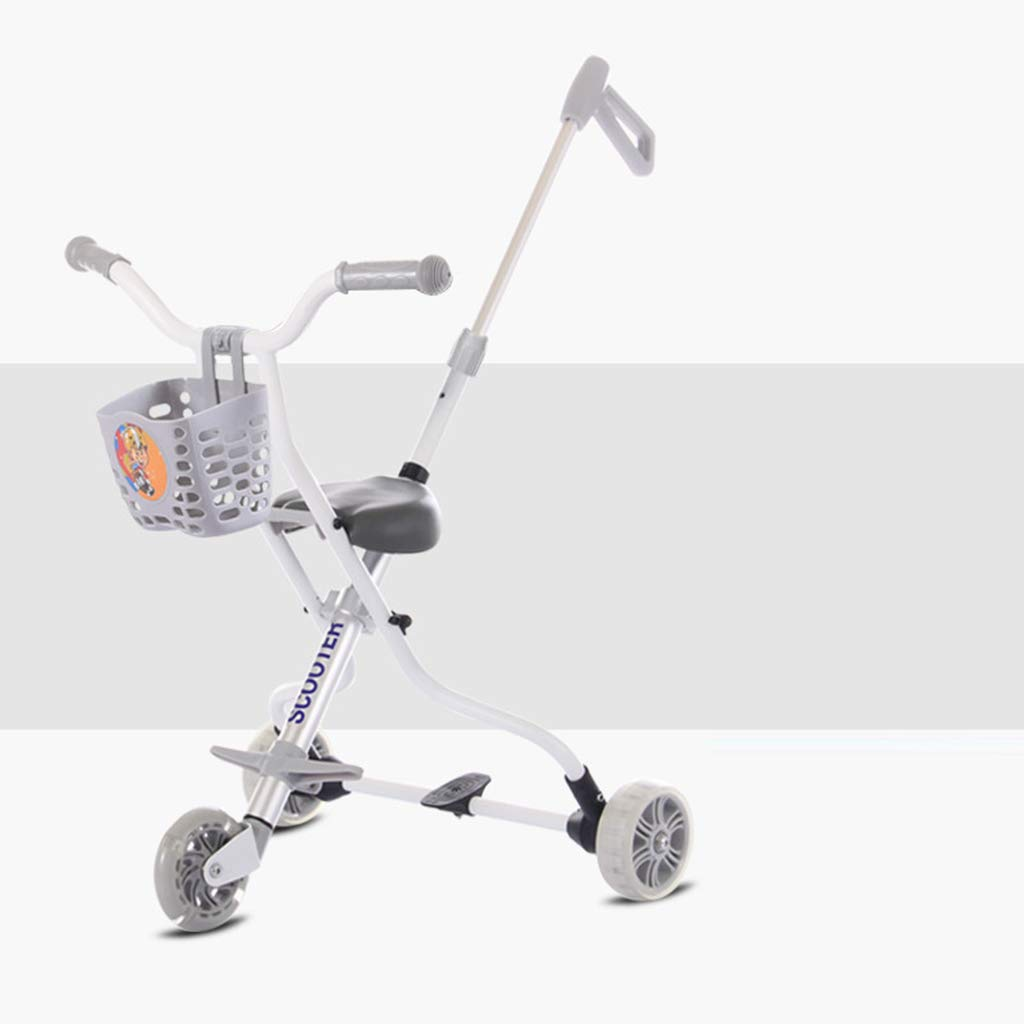 Baby Four-Wheeled Shatter-Resistant Lightweight Folding Children's Trolley Trend Adventure Travel System Range Aviation Aluminum Silver 6.3. (Color : E)