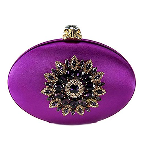 QZUnique Women's Elegant Handbag Purse Purple Clutch Bag Vintage Evening Luxury Rhinestone ffrgpnqwdx