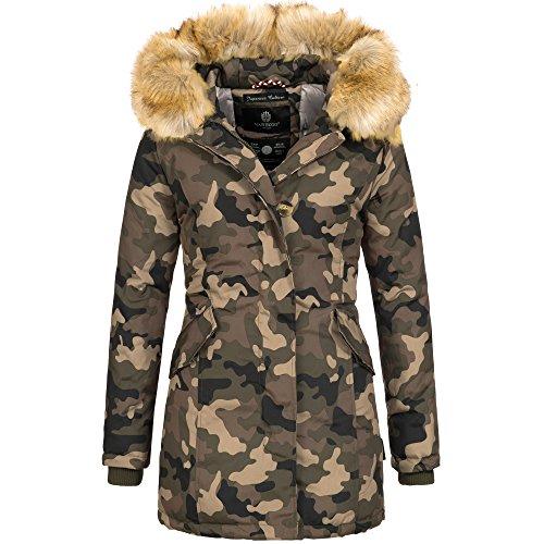 Marikoo KARMAA Damen Jacke Parka Mantel Winterjacke warm gefüttert Luxus XXL  Kunstpelz 12Farben Camouflage U6AK0T6PPk 0b9189df31