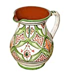 hot paella - Moroccan Pitchers Sangria Handmade Ceramic Carafe Beverage Dispenser Jar Cooler Easy Pour 58 Oz Large