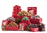Benevelo Gifts 6 Tier Gourmet Nuts and Snacks Holiday Set | Chocolate Caramel Drizzled Popcorn, Christmas Tree Pretzels, Honey Glazed Almonds, Holly Jolly Mix, Chocolate Covered Graham Crackers, and Chocolate Caramel Balls