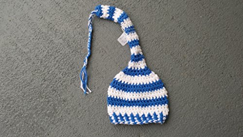Elf style braided tail stocking a for baby. SIZE 0 to 3 months. Royal blue and white colors. Ready to ship. VIEW all our listing for other colors and sizes. from Heartmade Crafts