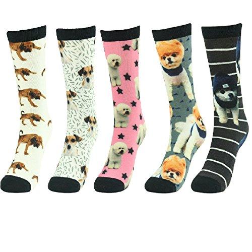 Funky Socks,J'colour Unisex Holiday Art Animal Patterned Fun Design Casual Dress Uniform Team Sports Soft Gift Pets Dogs Print Crew Socks 5 Pairs for Men Women ()