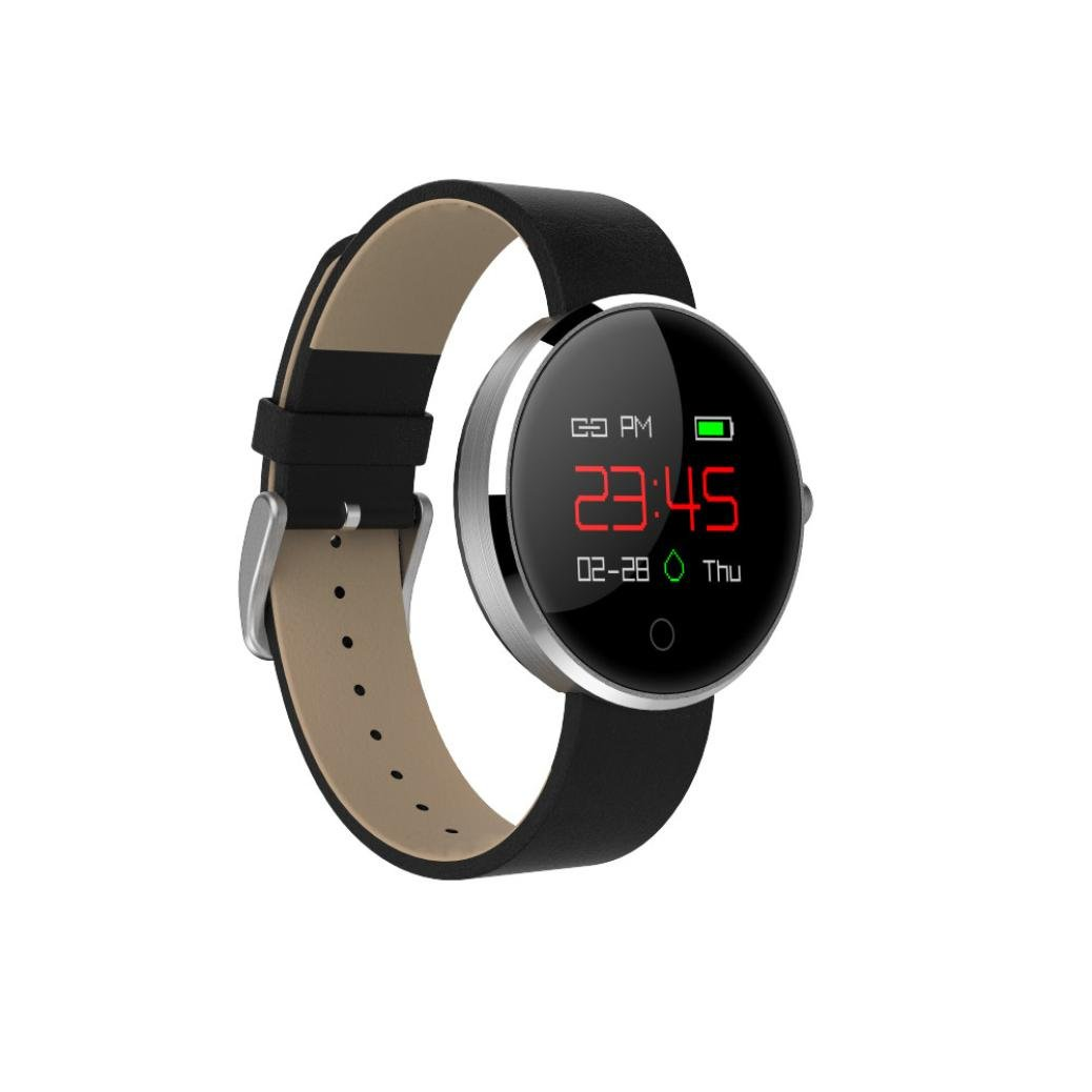 New Professional Colorful UI Blood Pressure Heart Rate Smart Watch,Esharing Sport Fitness Activity Sleep Pedometer Track Monitor USB Charge Fashion Bracelet Wristband (Silver)