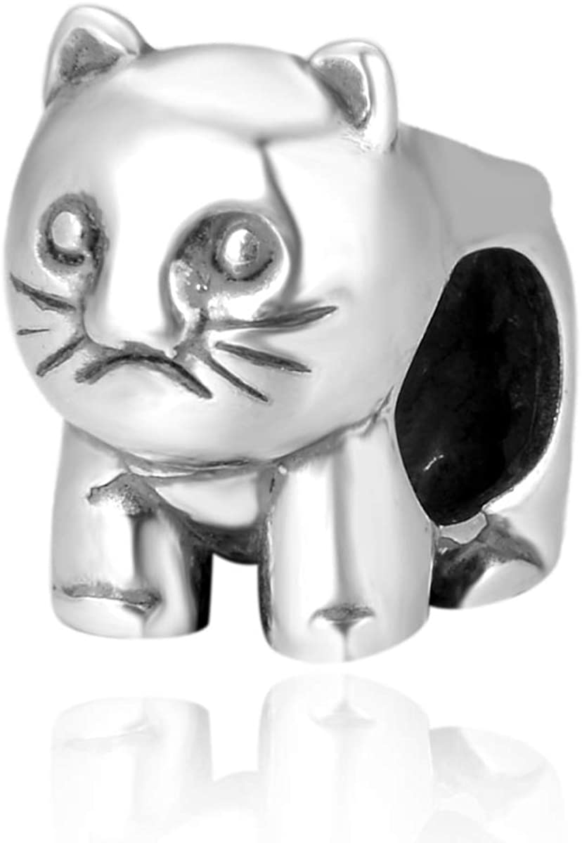 Cute Sterling Silver Cat Charm Kitten Animal Bead for All Charm Bracelet Necklace Women Mom Birthday Valentines day Gifts Gift EC266