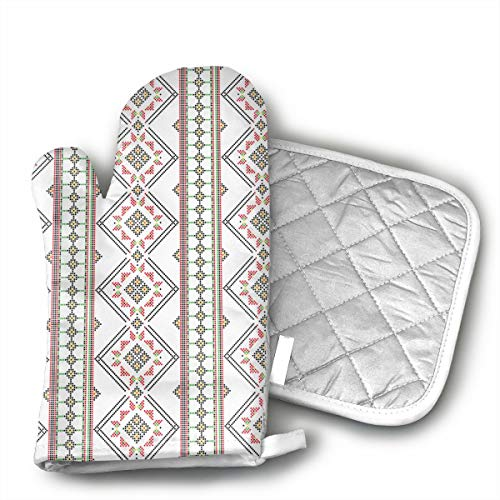 MEILVWEN Alhambra Palace Oven Mitt and Pot Holder Set,Heat Resistant for Cooking and Baking Kitchen Gift]()