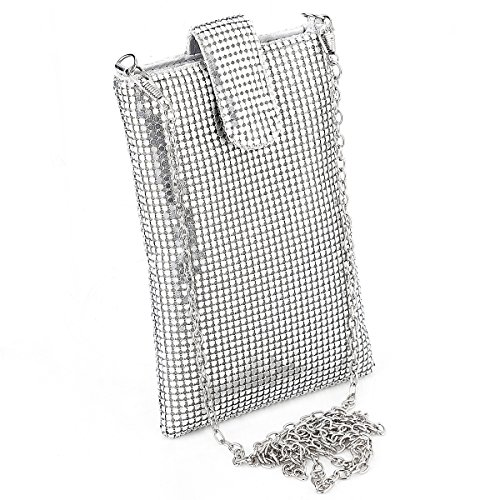 Evening Handbags Clutch Purses for Women Metal mesh Small Crossbody Bag Cell Phone Purse Wallet in Silver