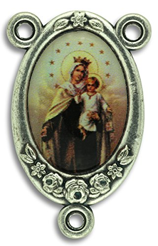 - Gifts Catholic, Inc. LOT of 5 - Rosary Center Our Lady of Mt Carmel Center Piece Color Image. 1 inch