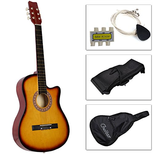 Beginners Acoustic Guitar With Guitar Case, Strap, Tuner and Pick Yellow (Pink Cutaway Acoustic Guitar)