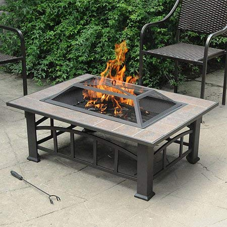 Elegant Rectangular Tile Top Fire Pit a Curved Ladder Frame, Brownish Bronze